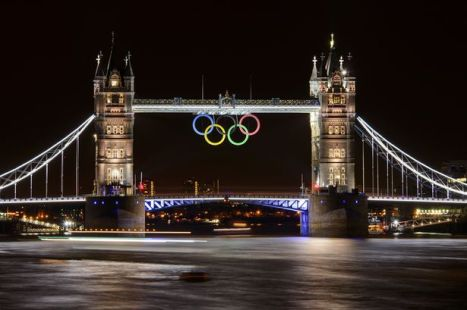 Tower Bridge w/ Olympic Rings - Image via Google